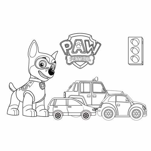chase keep the trafic pawa patrol coloring book