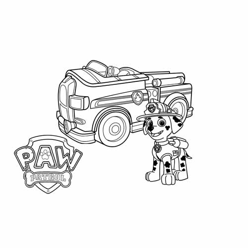 marschall and the fire truck pawa patrol coloring book