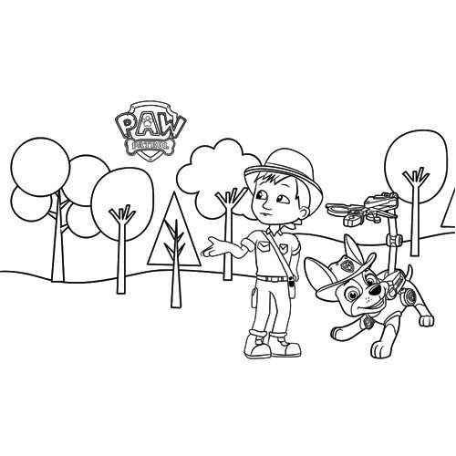 carlos and tracker in the forest paw patrol coloring book