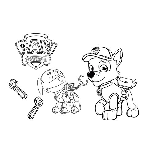 rocky and robot paw patrol coloring book