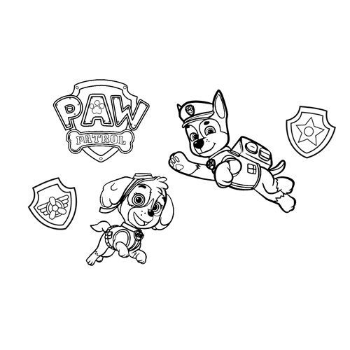 funny chase and skye paw patrol coloring book