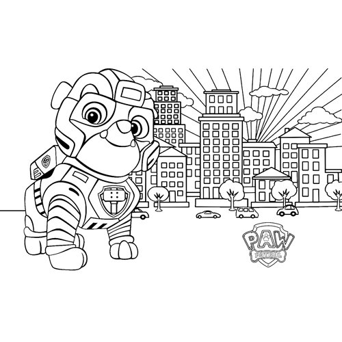 rubble working paw patrol coloring book
