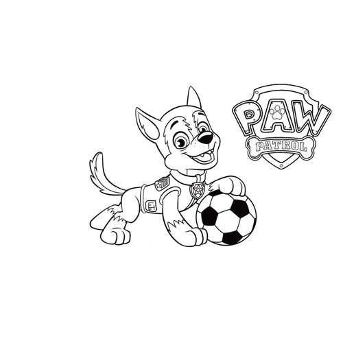 rocky play soccer paw patrol coloring book