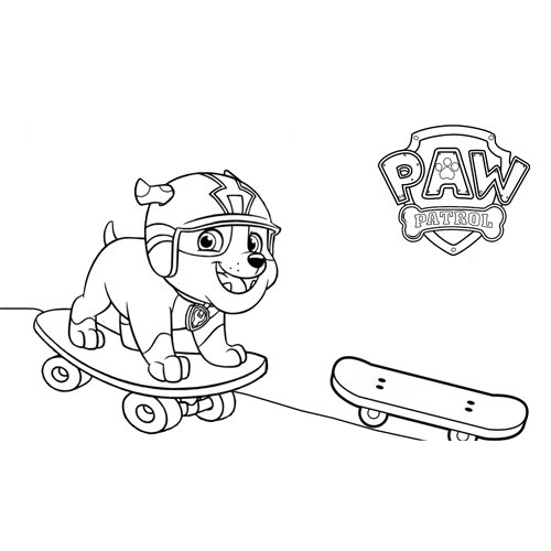 rubble skating paw patrol coloring book