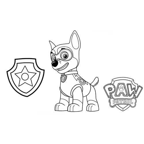 chase the police paw patrol coloring book