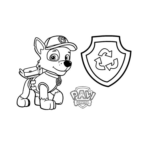 rocky recycling paw patrol coloring book