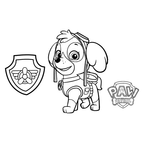 skye the pilot paw patrol coloring book
