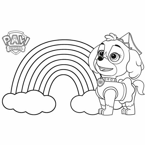 skye and the rainbow paw patrol coloring book