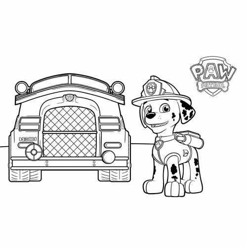 cute marshall paw patrol coloring book