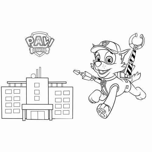 rocky in action paw patrol coloring book