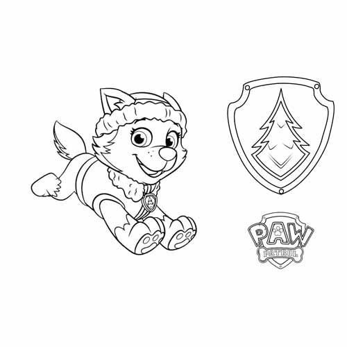 everest with his badge paw patrol coloring book