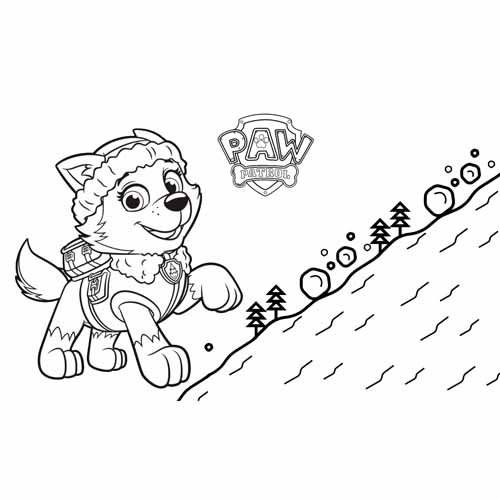 everest on the mountain paw patrol coloring book