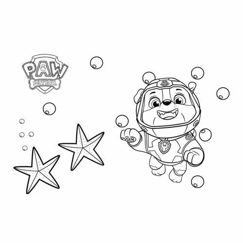 rubble in the sea paw patrol coloring book