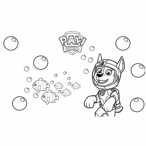 chase in the sea paw patrol coloring book