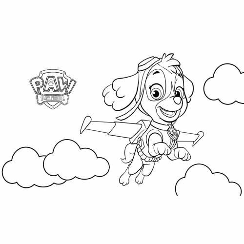 skye in the clouds paw patrol coloring book