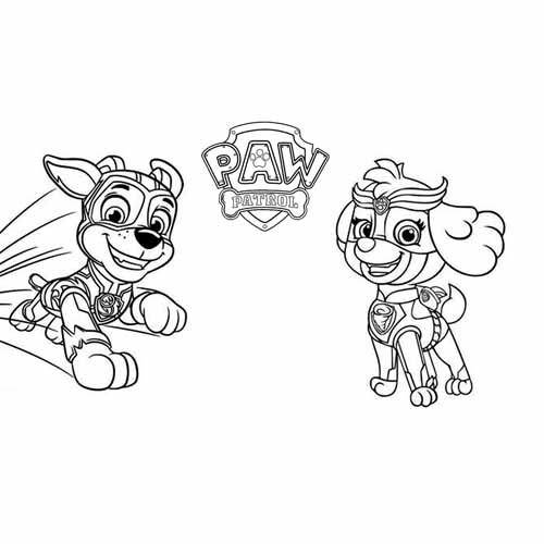 super rocky and skye paw patrol coloring book
