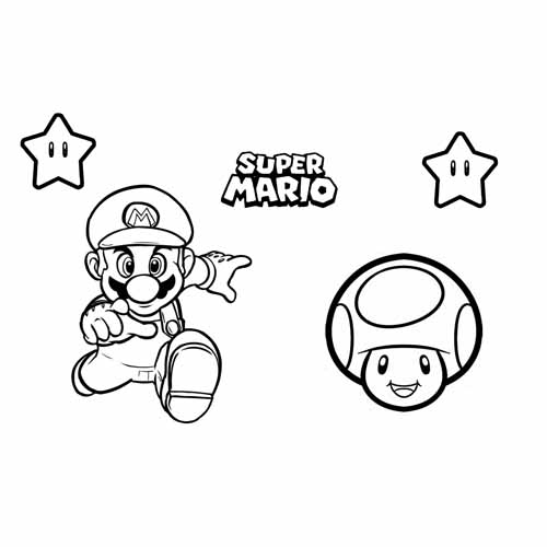mario bros and Toad coloring book