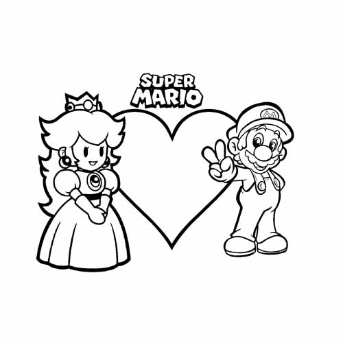 mario and the princess coloring book