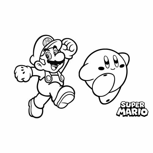 mario and kirby coloring book