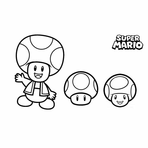 the mushrooms of the mushroom kingdom mario Bros coloring book