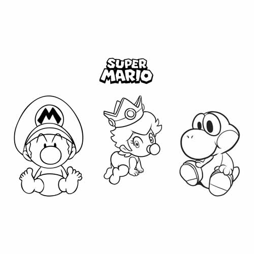 baby mario ,baby Princess and Yoshi coloring book