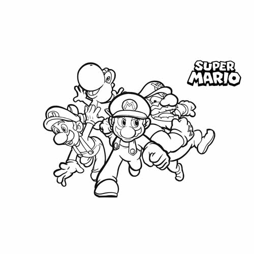 mario bros race coloring book