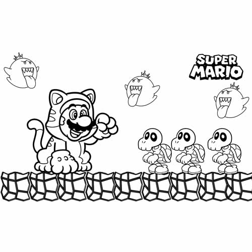 mario cat coloring book