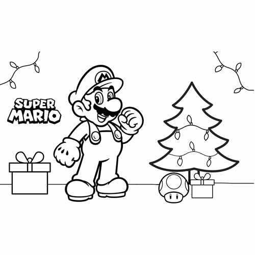 merry christmas mario bros coloring book