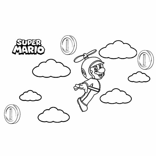 mario bros fly coloring book