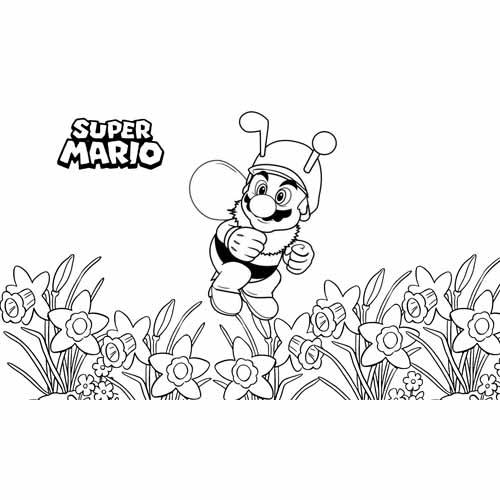 mario bros bumblebee coloring book