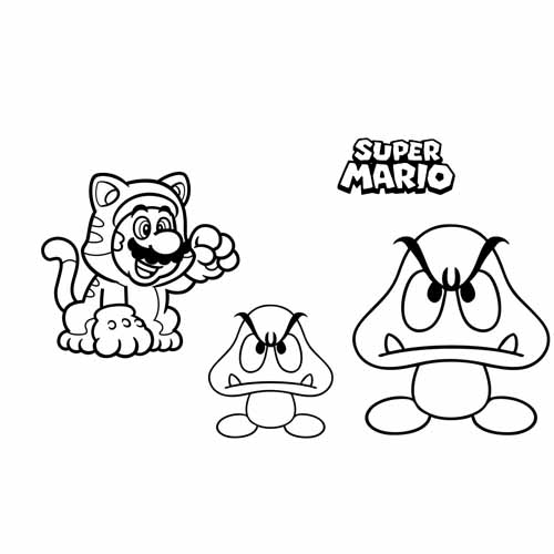 mario and goomba coloring book