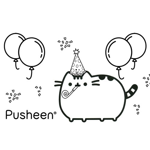 pusheen in the super party coloring book