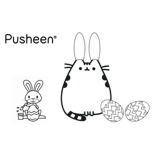 pusheen with easter eggs coloring book