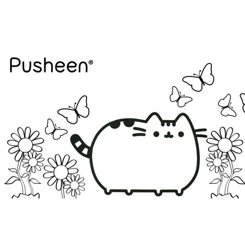 pusheen in spring coloring boo