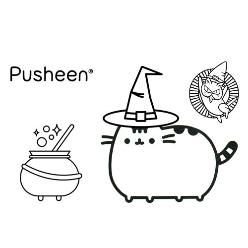 halloween pusheen coloring book