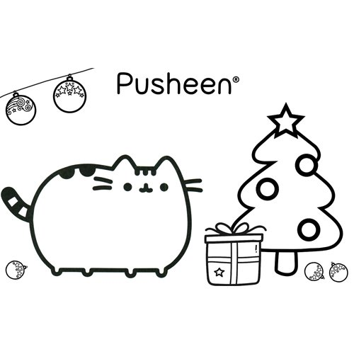 merry christmas pusheen coloring book