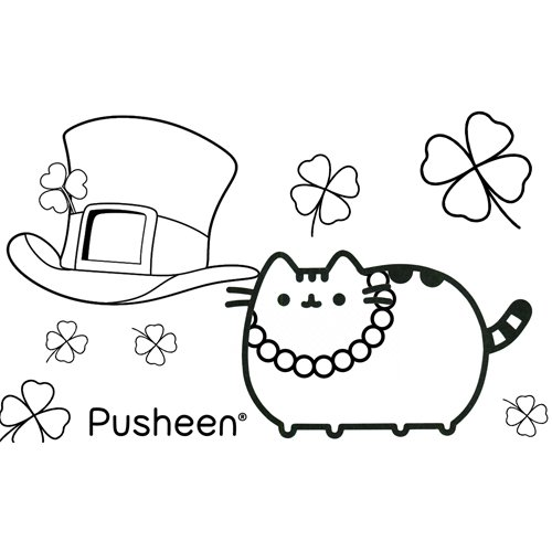 pusheen happy st patricks day coloring bo