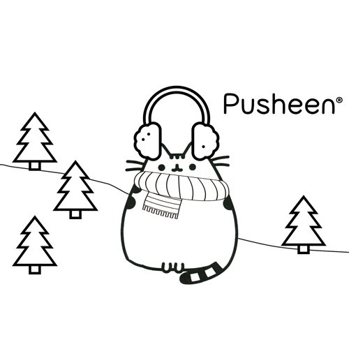 pusheen in the snow coloring book