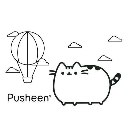 pusheen in a hot air balloon coloring book