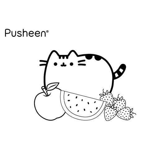 fruits pusheen coloring book