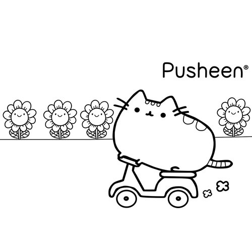 pusheen on motorcycle coloring book