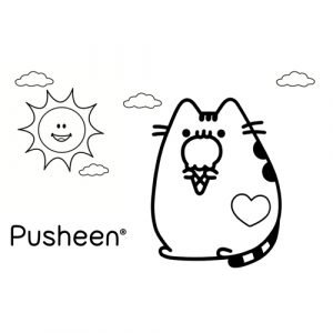 pusheen enjoying ice cream coloring book