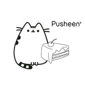 pusheen eating cake coloring book