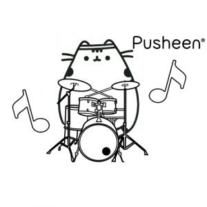 pusheen drummer coloring book