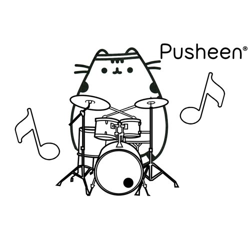 pusheen drummer coloring book