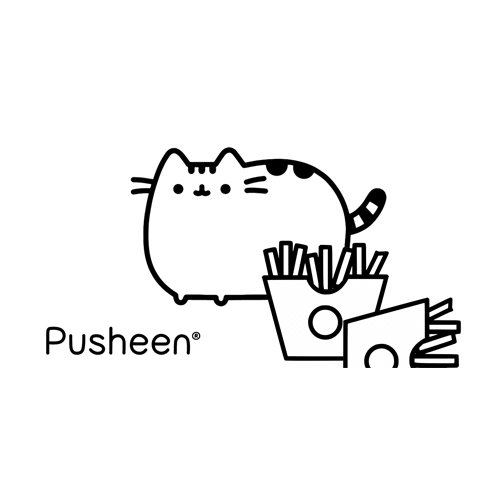 pusheen eating french fries coloring book