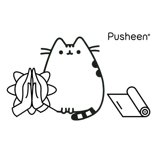 pusheen in her yoga practice coloring book
