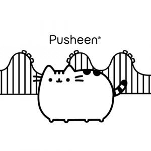 pusheen on the roller coaster coloring book