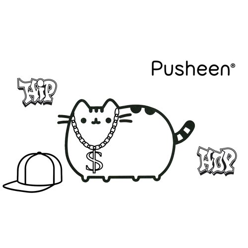 hip hop pusheen coloring book