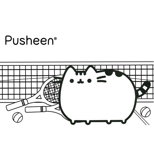 pusheen tennis player coloring book